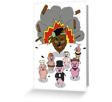 6 little pigs and the party god Greeting Card