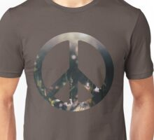 Peace Sign - Purple Flowers Unisex T-Shirt