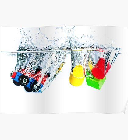 Wooden toys in water Poster