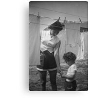 Mother and Daughter Hanging Laundry, 1954 Canvas Print