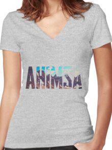 AHIMSA - Mountains Women's Fitted V-Neck T-Shirt