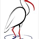 White Ibis Drawing by Deb Fedeler