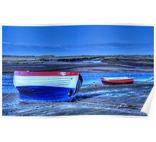 Mudflats and boats Poster