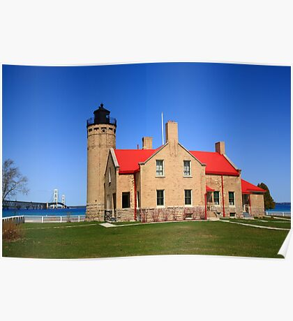 Lighthouse and Mackinac Bridge Poster