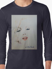 Marilyn, Charcoal and Pastel Long Sleeve T-Shirt
