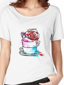 Watercolour Rose Teacups Women's Relaxed Fit T-Shirt