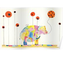 Hippo in Poppy Field Poster