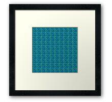 Geometric blue pixel pattern Framed Print