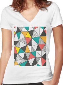 Triangles background Women's Fitted V-Neck T-Shirt