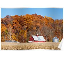 Farmland Autumn Hillside Poster