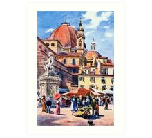 Market day at Piazza San Lorenzo Florence Firenze Italy Art Print