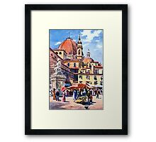 Market day at Piazza San Lorenzo Florence Italy Framed Print