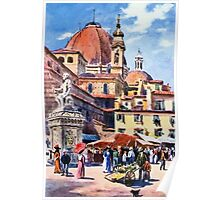 Market day at Piazza San Lorenzo Florence Firenze Italy Poster