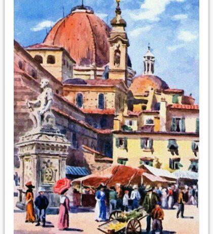 Market day at Piazza San Lorenzo Florence Firenze Italy Sticker