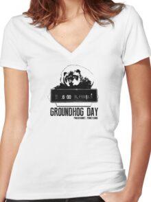 Groundhog Day  Alarm Clock  Punxsutawney T-shirt Women's Fitted V-Neck T-Shirt