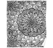 Shades of Grey - mono floral doodle Poster