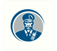 Security Guard Police Officer Radio Circle Art Print