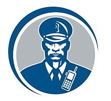 Security Guard Police Officer Radio Circle by patrimonio