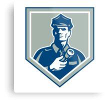 Security Guard Flashlight Shield Retro Metal Print