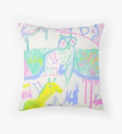 Pastel Roadkill Party with Owl and friends!  THE AFTERPARTY Throw Pillow