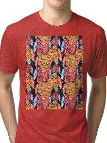 Tropical floral pattern with butterflies Tri-blend T-Shirt