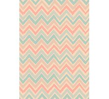 Chevron Pattern in Pastel Pink and Blue Photographic Print