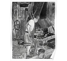 Blacksmith at work - black & white version Poster