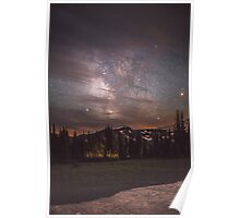 Mt Rainier & Milky Way Poster