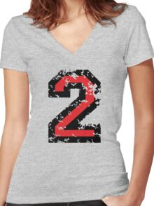 The Number Two - No. 2 (two-color) red Women's Fitted V-Neck T-Shirt