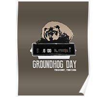 Groundhog Day  Alarm Clock  Punxsutawney Color T-shirt Poster