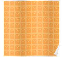 Geometric peachy pixel pattern Poster