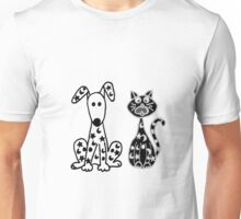 Cool Funny Spotted Dog and Cat Unisex T-Shirt