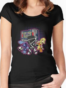Old Skool 80s Cartoon B Boys (and girl) Women's Fitted Scoop T-Shirt