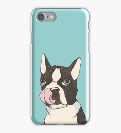 Hungry Boston Terrier (Black) iPhone Case/Skin