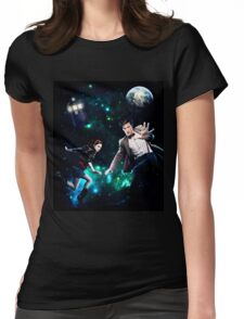 Amy and The Doctor in Space Womens Fitted T-Shirt