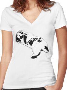 Rabbit Black and White Women's Fitted V-Neck T-Shirt