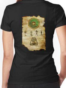 Earth Bender Scroll Women's Fitted V-Neck T-Shirt