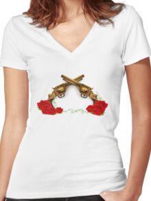 Gun With Roses Women's Fitted V-Neck T-Shirt