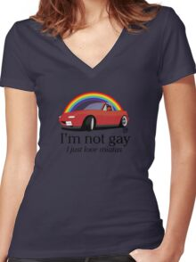 I'm not gay I just love my Miata! Women's Fitted V-Neck T-Shirt