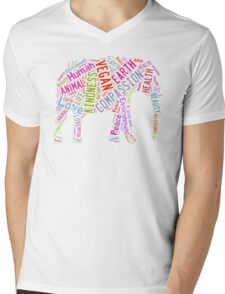 Vegan Elephant Mens V-Neck T-Shirt