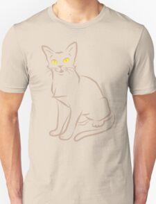 Sketchy cat minimal outline in tan color T-Shirt
