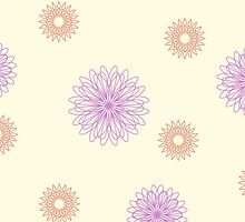 Purple orange floral pattern on cream by cycreation