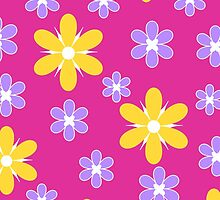 Yellow purple floral pattern on pink by cycreation