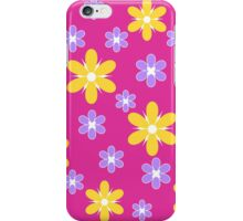 Yellow purple floral pattern on pink iPhone Case/Skin