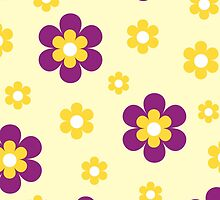 Purple yellow floral pattern by cycreation