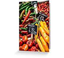 Red and green peppers hung Greeting Card