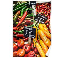 Red and green peppers hung Poster