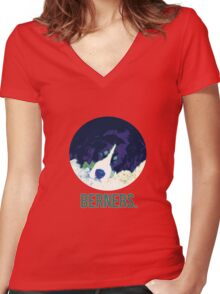 Berners.  Bernese.  Dog. Women's Fitted V-Neck T-Shirt