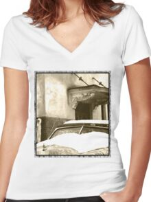Sepia Snow Women's Fitted V-Neck T-Shirt