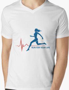 Healthy Run Emblem Mens V-Neck T-Shirt